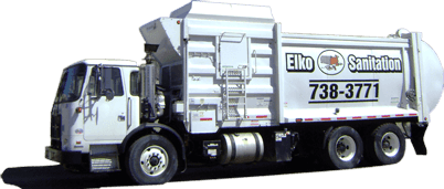 Picture of Elko Sanitation garbage truck.