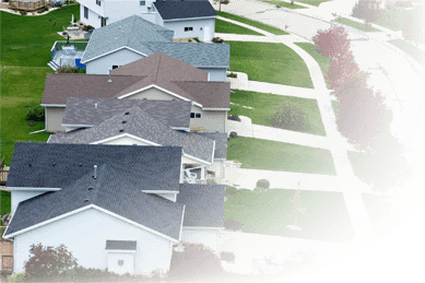Aerial photo of homes in a residential neighborhood.
